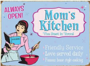 Mom's Kitchen large metal Sign  400mm x 300mm  (rh)